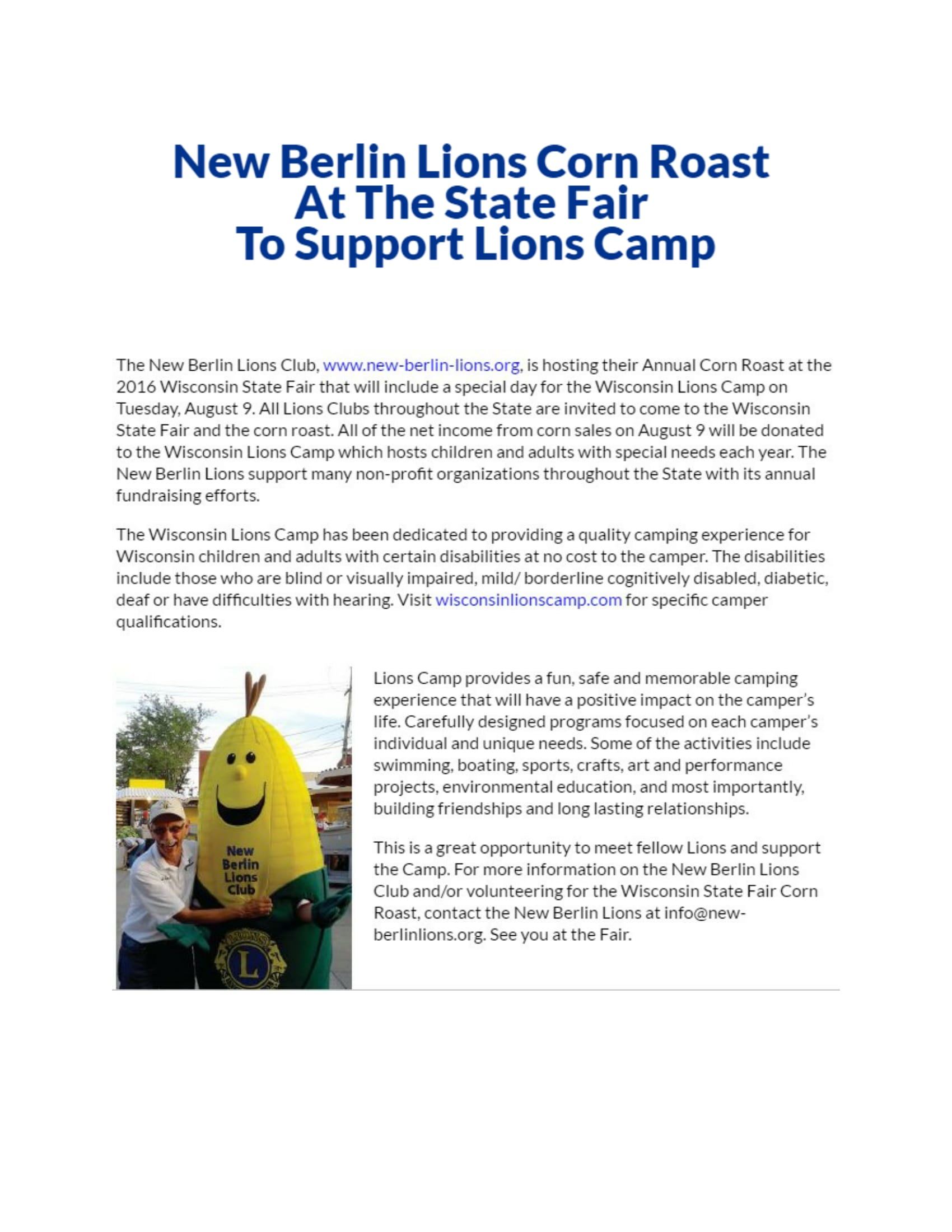 WI Lions Article on Corn Roast 2016-1
